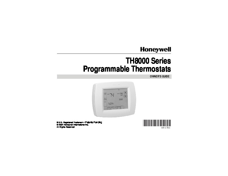 honeywell th8000 series programmable thermostats owners guide. Black Bedroom Furniture Sets. Home Design Ideas