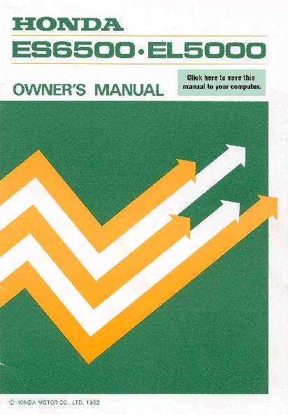 Honda generator es6500 el5000 owners manual 1 of 41 for Honda financial services hours